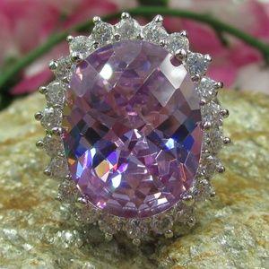Jewelry - Vintage Size 8 Sterling Large CZ Diamond Ring